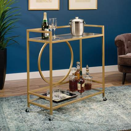 Gold colored bar cart