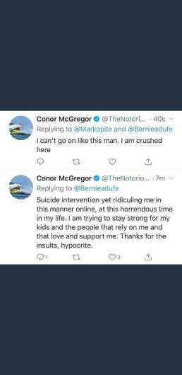 Conor McGregor's Sunday night tweets.