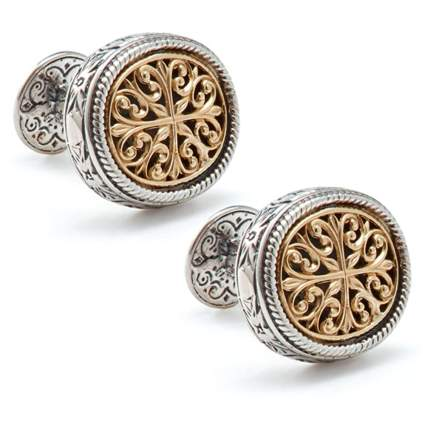 silver cufflinks with gold filagree