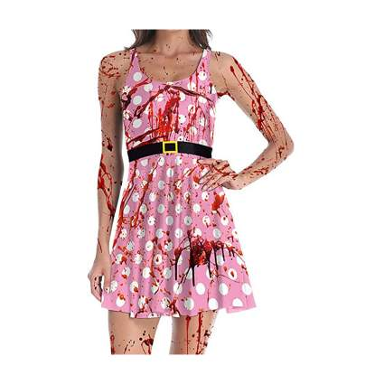 Pink polka dot dress with blood stains