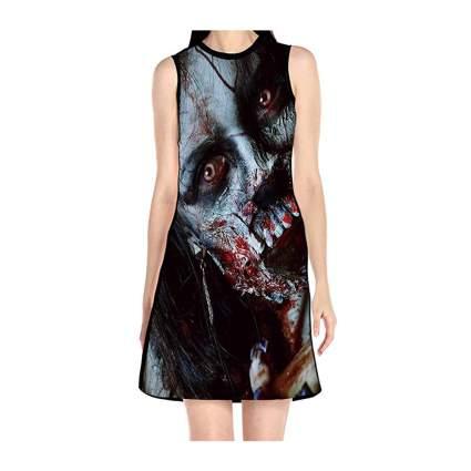 Woman in black zombie dress