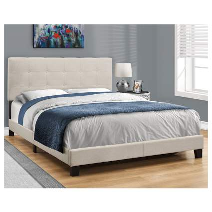 cream upholstered bed frame