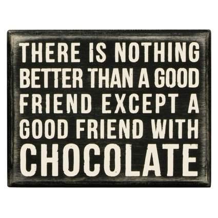 funny chocolate box sign