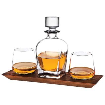 Godinger Whiskey Decanter and Glasses Bar Set