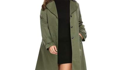green plus size trenchcoat