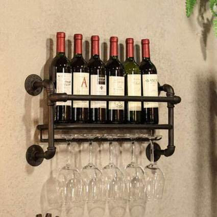 Industrial Wall Mounted Wine Rack