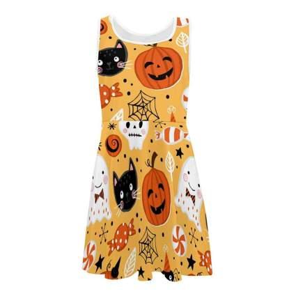 Little kid's cute orange pumpkin dress
