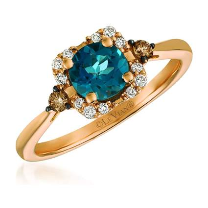 topaz and chocolate diamond ring
