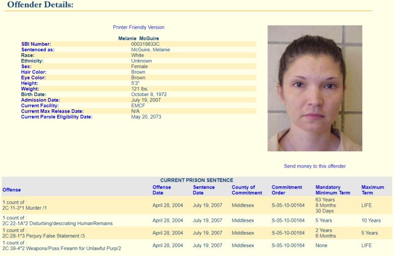 Melanie McGuire prison record
