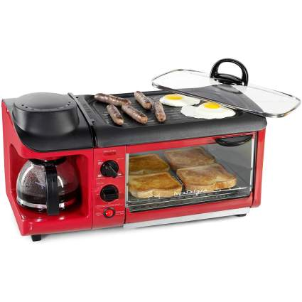 Nostalgia BST3RR 3-in-1 Family Size Breakfast Station
