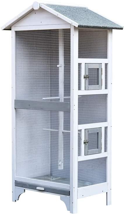 Wooden outdoor birdcage for list