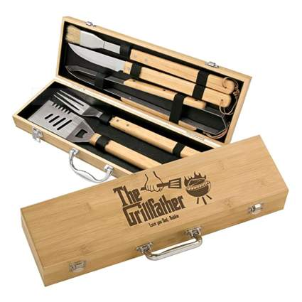 grilling tools in a personalized box