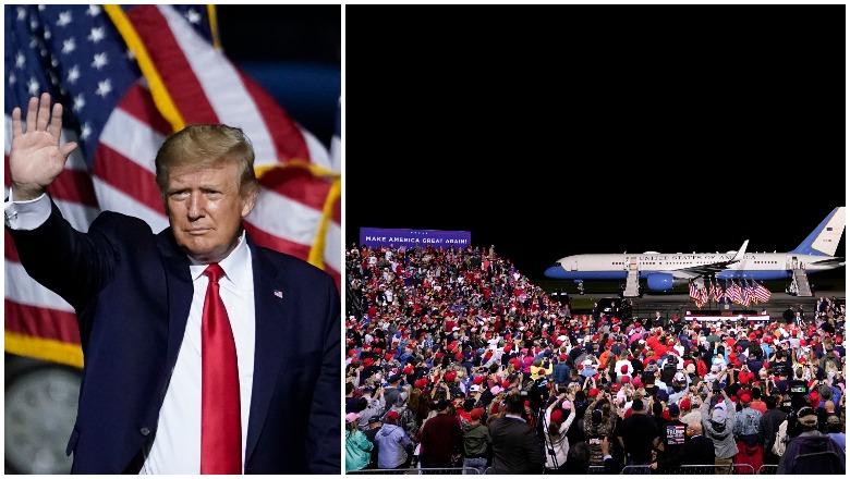 Trump's Newport News, Virginia rally crowd size photos