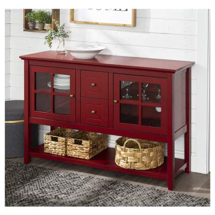 red rustic storage buffet