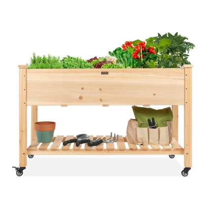 rolling raised wooden garden box