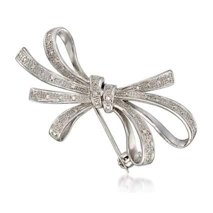silver and diamond ribbon brooch