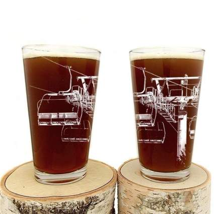 Ski Lift Pint Glasses