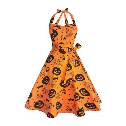 Orange pumpkin halter dress