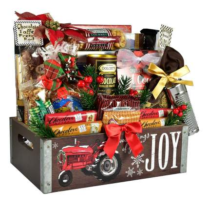 wooden box of chocolate treats