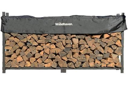 Woodhaven 8-Foot Firewood Log Rack with Cover