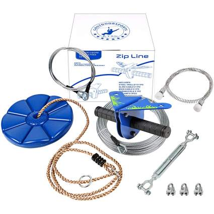 110 Foot Zipline Kit with Stainless Steel Spring Brake and Seat