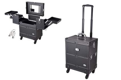 Black rolling makeup trolley with mirror