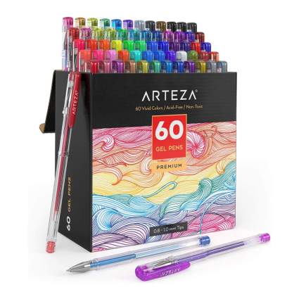 Large box of coloful gel pens