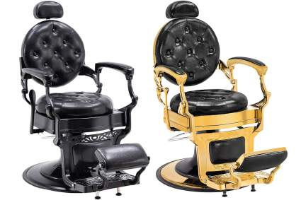 Black and gold barber chairs