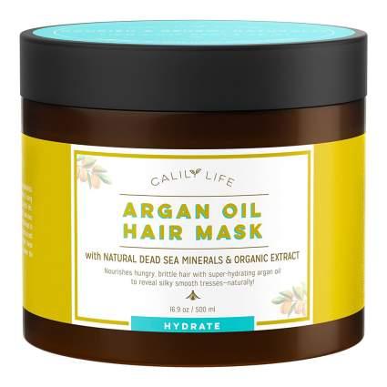 yellow and amber jar of argan hair mask