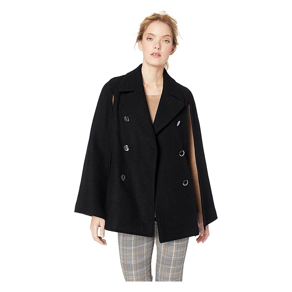 Juesi Women Wool Blend Cape Coat Elegant Cape Mock Poncho Classy Coat Cape Trench Duster Coat Longline Blazer Cape