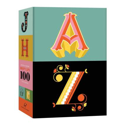 Box of graphic design typography postcards
