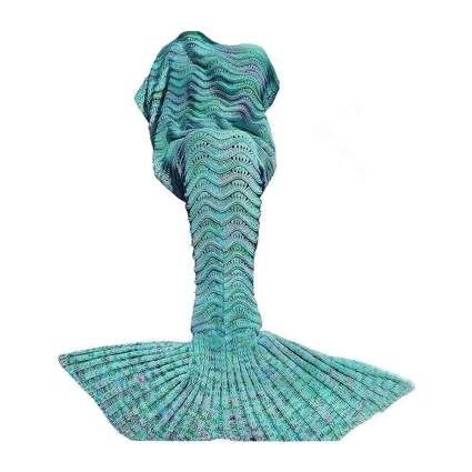 Aqua mermaid knit blanket