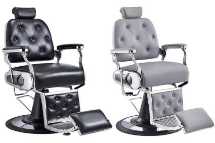 Grey and black barbering chairs