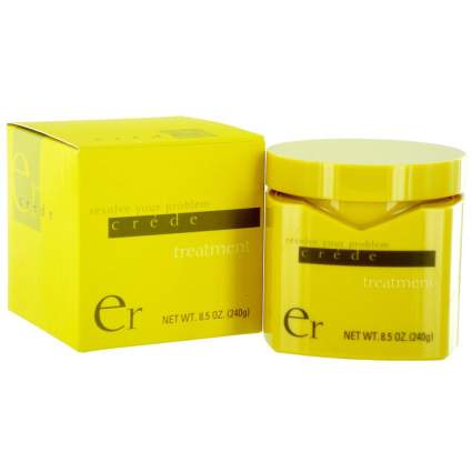 Yellow jar and box of ER Crede hair treatment