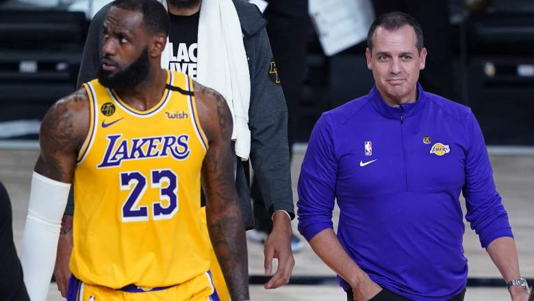 Lakers coach Frank Vogel (right) with LeBron James.