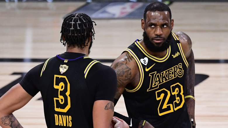 Anthony Davis, left, and LeBron James, right, of the Lakers
