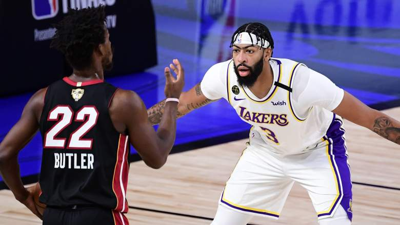 Miami Heat's Jimmy Butler, left, and Los Angeles Lakers' Anthony Davis
