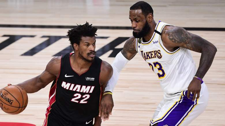 Jimmy Butler of the Miami Heat, left, and the Lakers' LeBron James