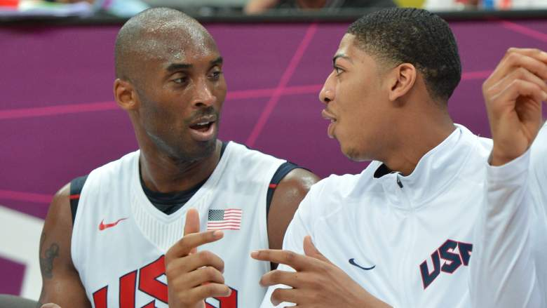 Lakers icon Kobe Bryant, left, chats with rookie Anthony Davis during the 2012 Olympics in London.