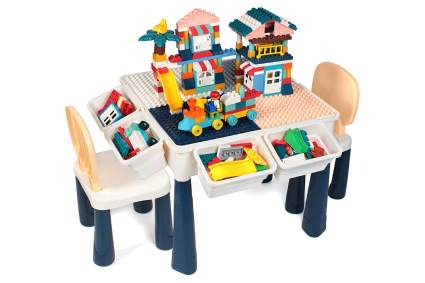 GobiDex 7 in 1 Multi Kids Activity Table Set with 2 Chairs