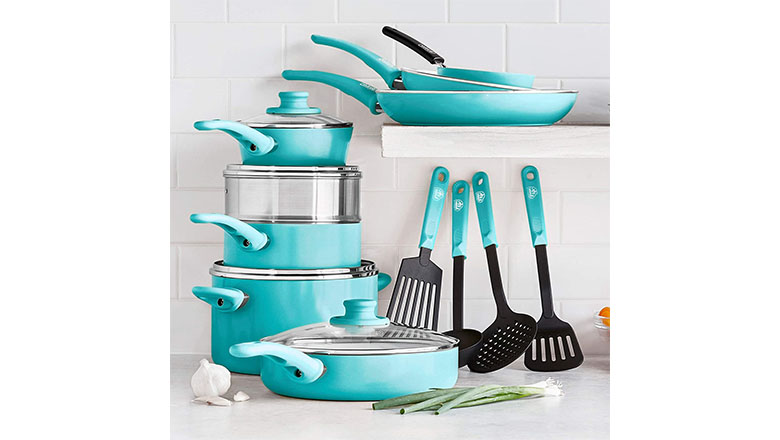 GreenLife cookware set turquoise