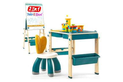 HaHaLand 2 in 1 Kids Activity Table & Easel w/Chair Set