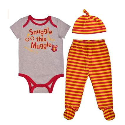 Harry Potter Boy's 3-Piece Snuggle This Muggle Footed Pant Set