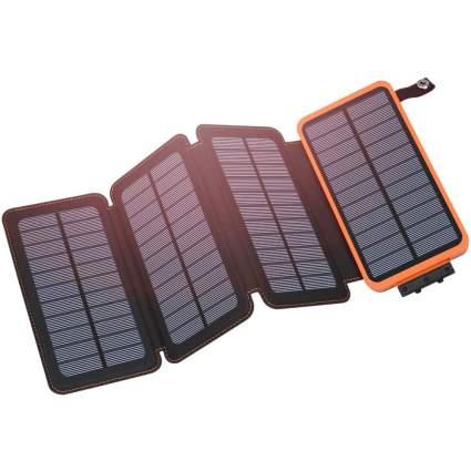 orange four-panel solar charger