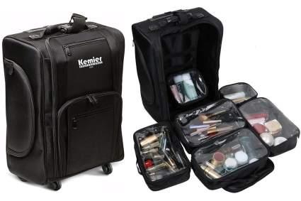 Black soft sided cosmetics bag on wheels