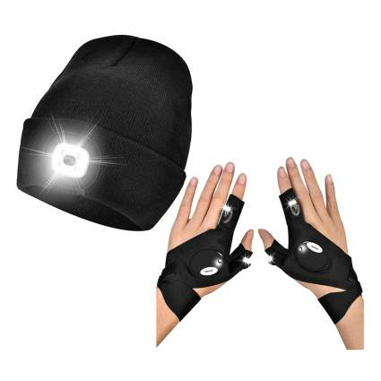 LED lighted beanie & gloves