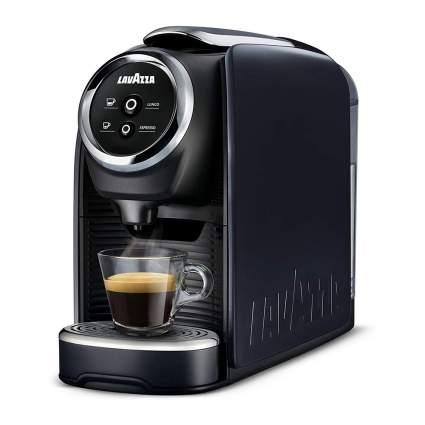 Black single serving coffee pod machine
