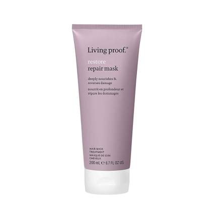 Dusty purple tube of Living Proof hair mask