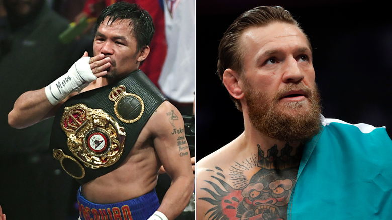 Boxing Champ Manny Pacquiao left, UFC Star Conor McGregor right