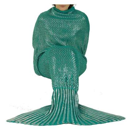 metallic green mermaid tail knit blanket